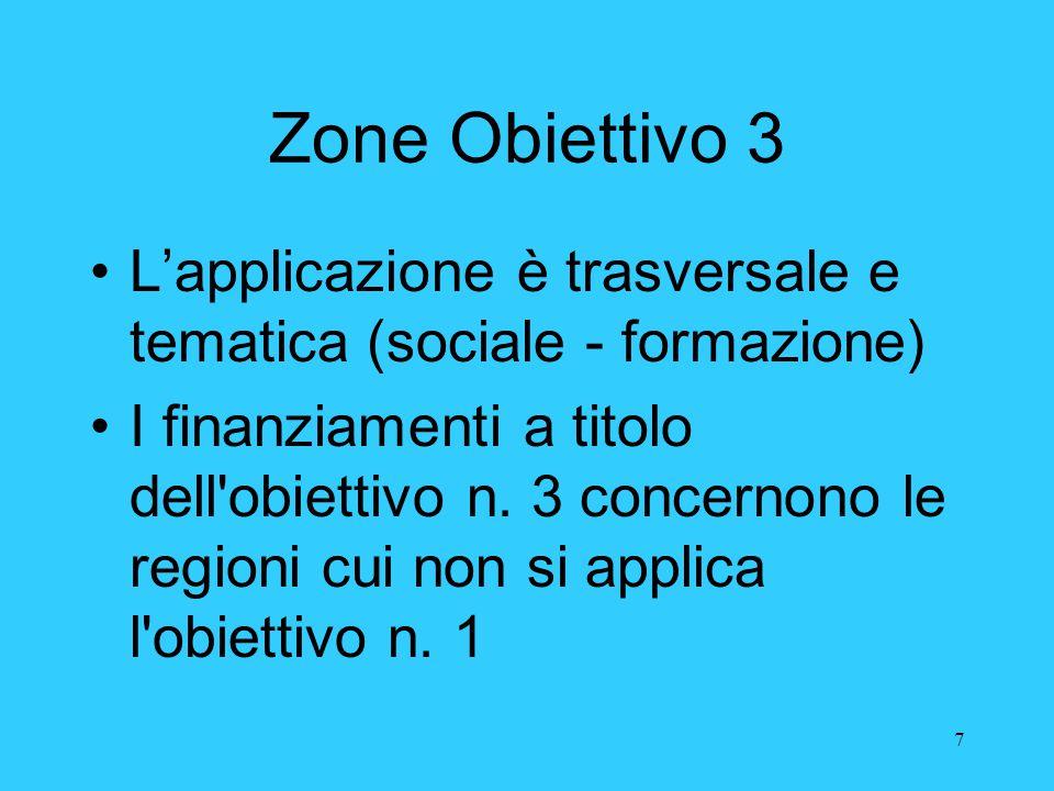 Zone Obiettivo 3 L'applicazione è trasversale e tematica (sociale - formazione)