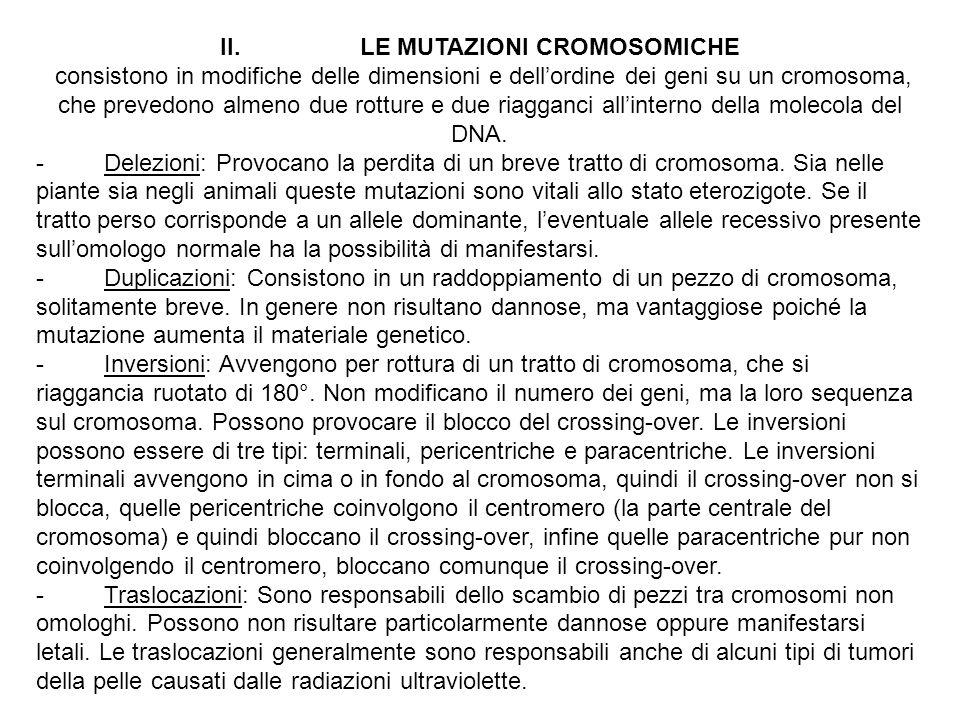 II. LE MUTAZIONI CROMOSOMICHE