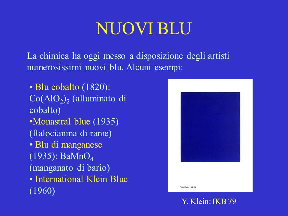 NUOVI BLU La chimica ha oggi messo a disposizione degli artisti numerosissimi nuovi blu. Alcuni esempi: