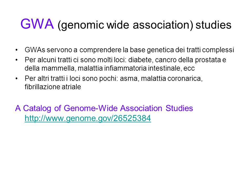 GWA (genomic wide association) studies