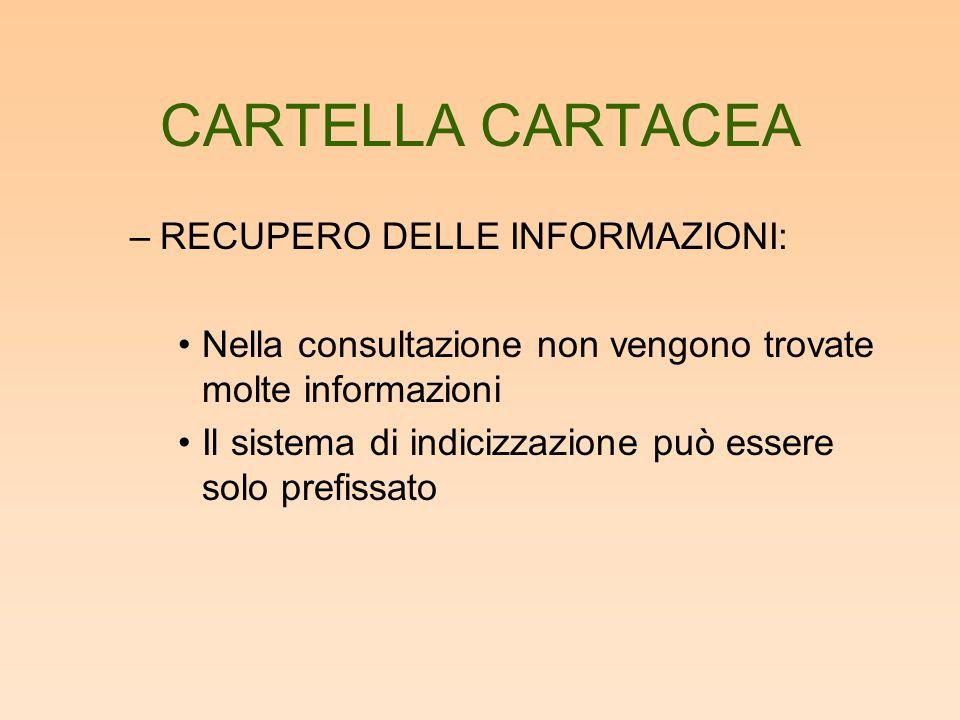 CARTELLA CARTACEA RECUPERO DELLE INFORMAZIONI: