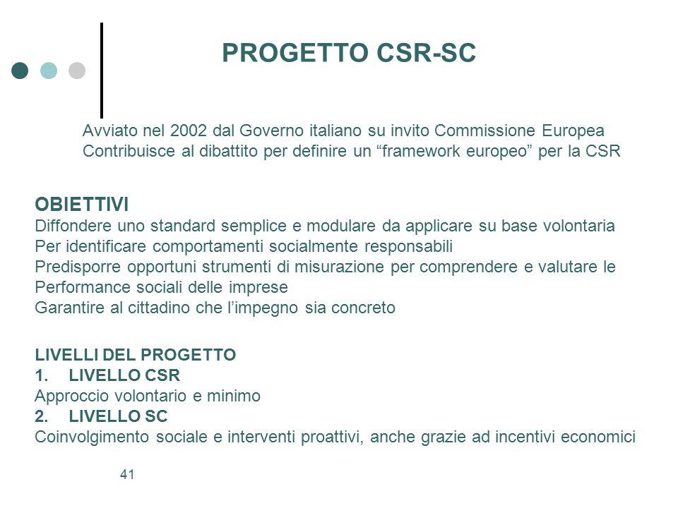 PROGETTO CSR-SC OBIETTIVI