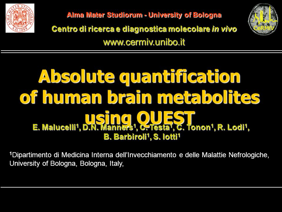 Absolute quantification of human brain metabolites using QUEST