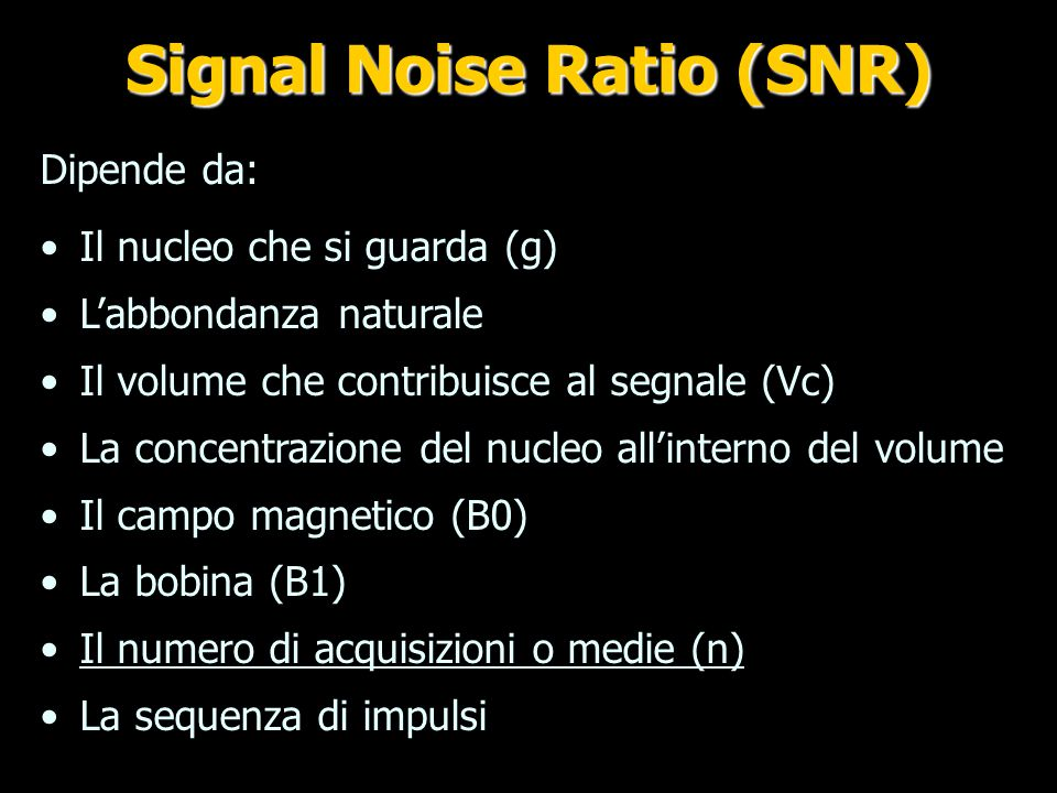 Signal Noise Ratio (SNR)