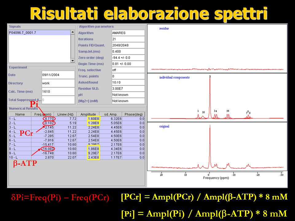 Risultati elaborazione spettri