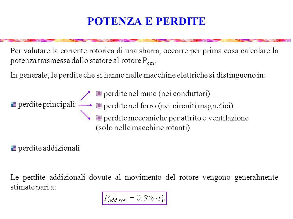 POTENZA E PERDITE Per valutare la corrente rotorica di una sbarra, occorre per prima cosa calcolare la potenza trasmessa dallo statore al rotore Pem.
