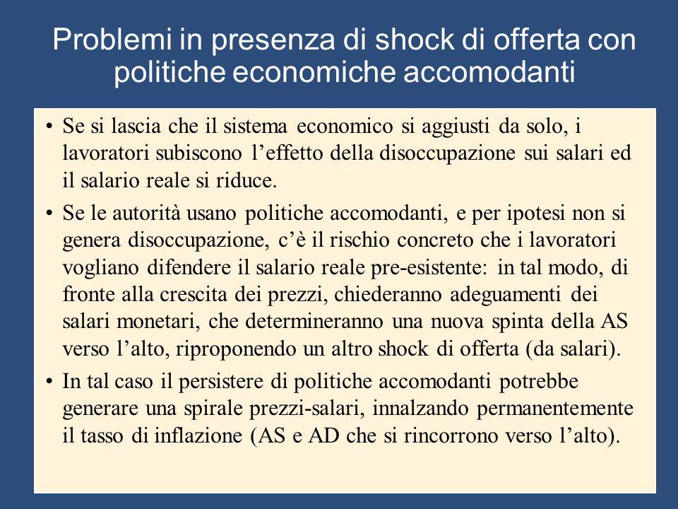 Problemi in presenza di shock di offerta con politiche economiche accomodanti