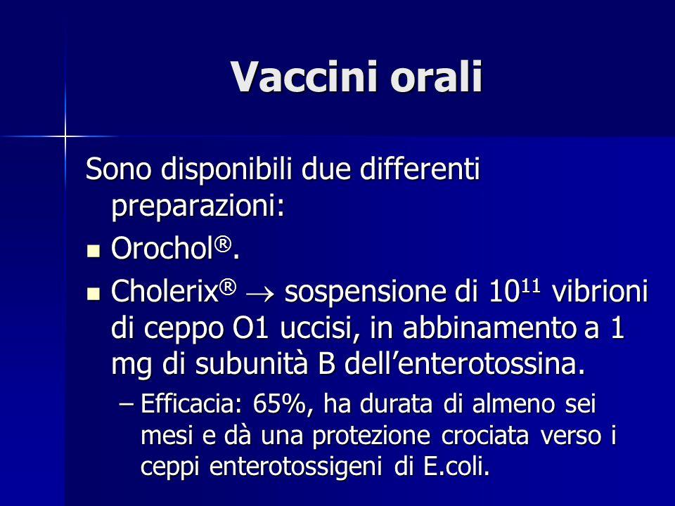 Vaccini orali Sono disponibili due differenti preparazioni: Orochol®.