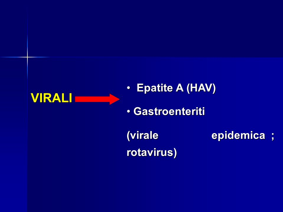 Epatite A (HAV) Gastroenteriti (virale epidemica ; rotavirus) VIRALI