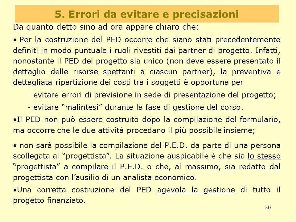 5. Errori da evitare e precisazioni
