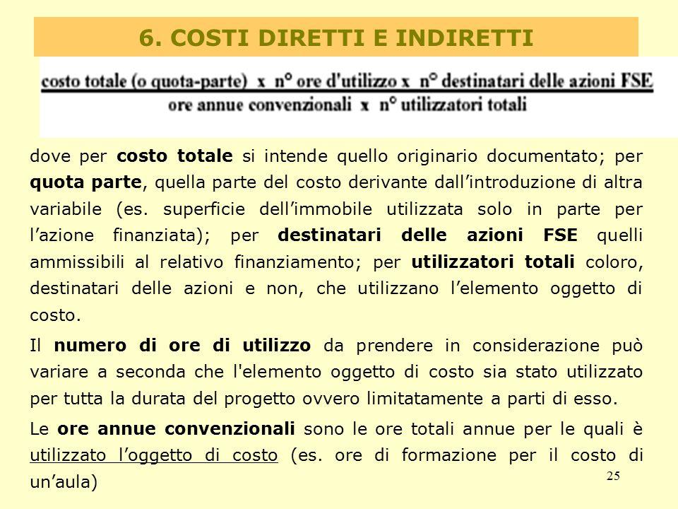 6. COSTI DIRETTI E INDIRETTI