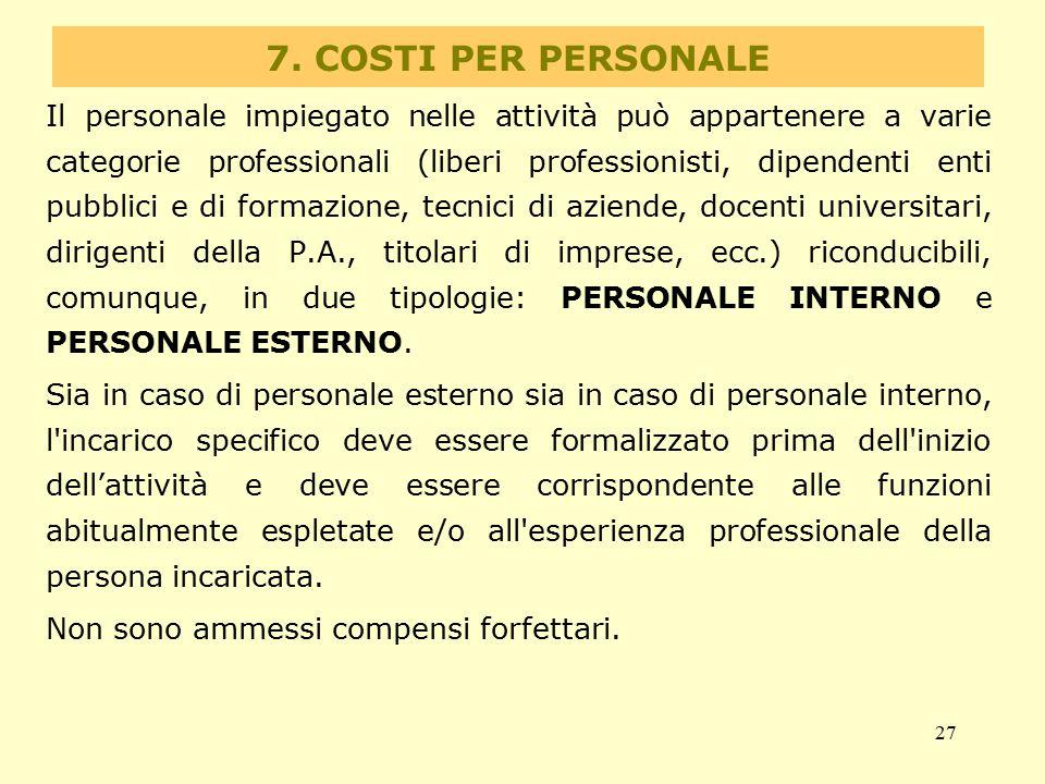 7. COSTI PER PERSONALE