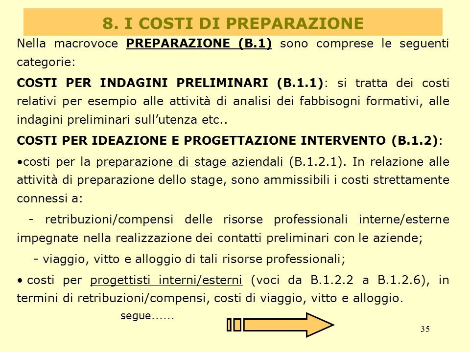 8. I COSTI DI PREPARAZIONE
