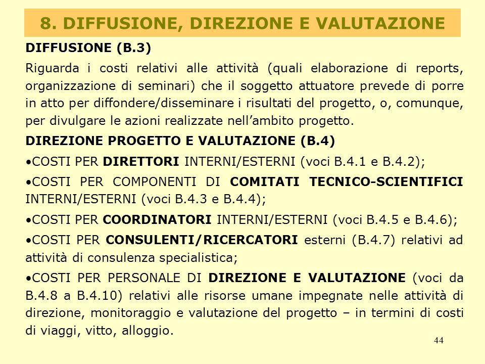 8. DIFFUSIONE, DIREZIONE E VALUTAZIONE