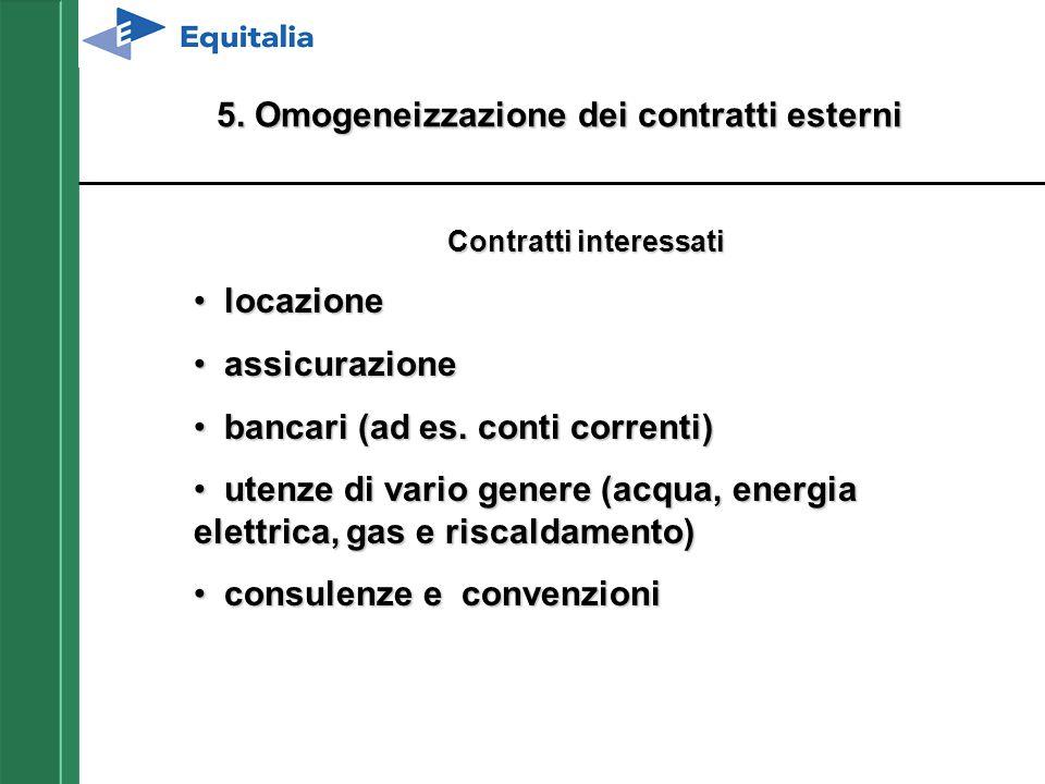 5. Omogeneizzazione dei contratti esterni Contratti interessati