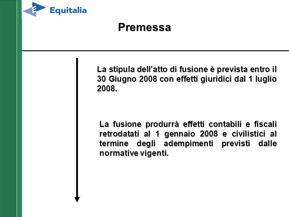 Premessa La stipula dell'atto di fusione è prevista entro il 30 Giugno 2008 con effetti giuridici dal 1 luglio 2008.
