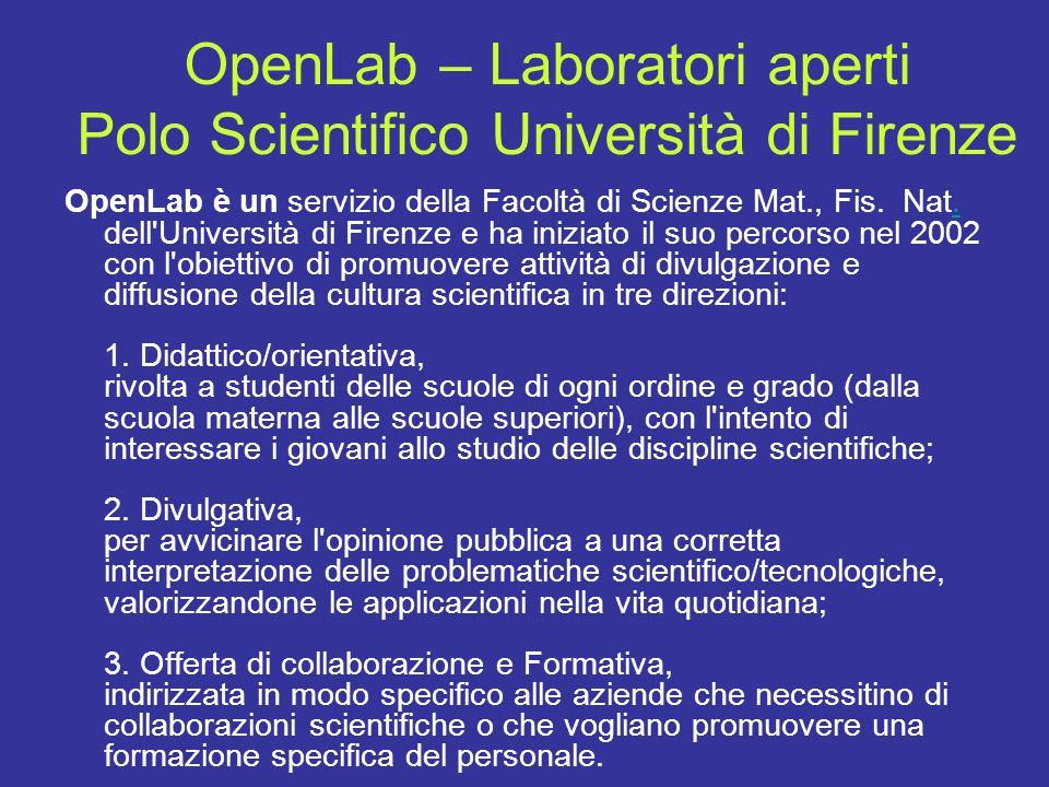 OpenLab – Laboratori aperti Polo Scientifico Università di Firenze