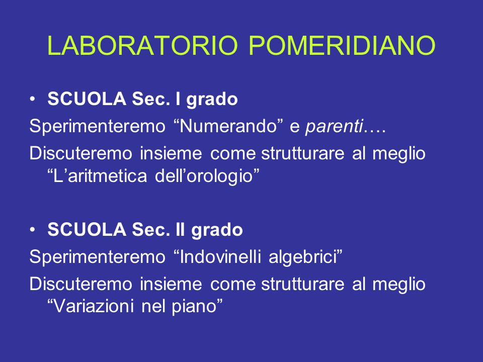 LABORATORIO POMERIDIANO