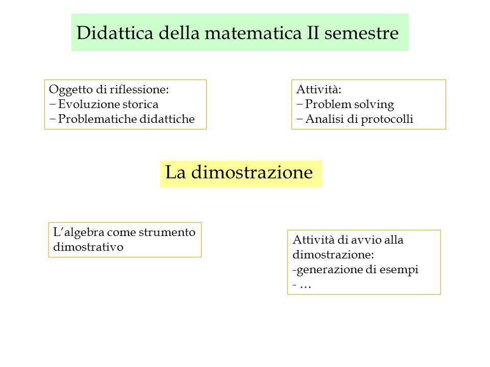 Didattica della matematica II semestre