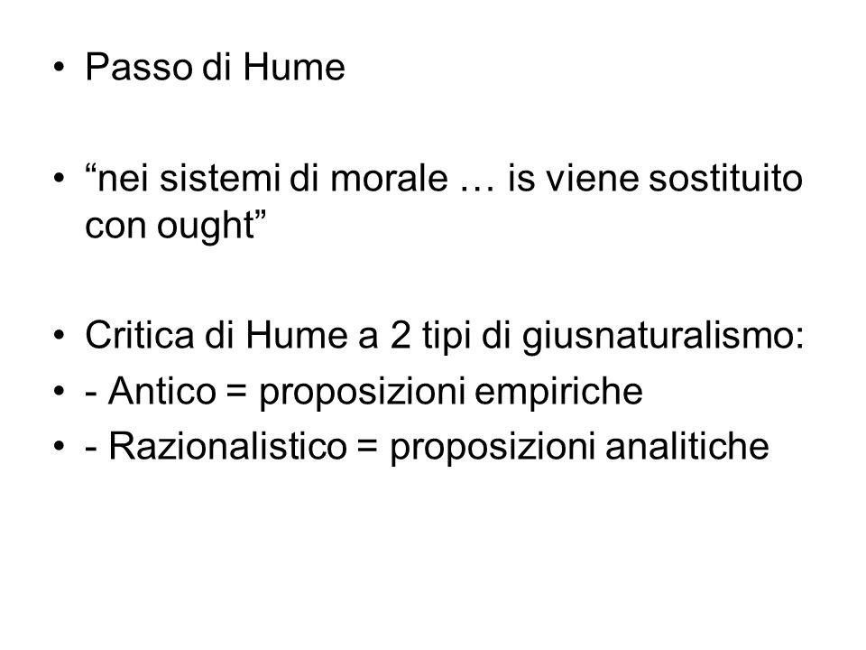 Passo di Hume nei sistemi di morale … is viene sostituito con ought Critica di Hume a 2 tipi di giusnaturalismo: