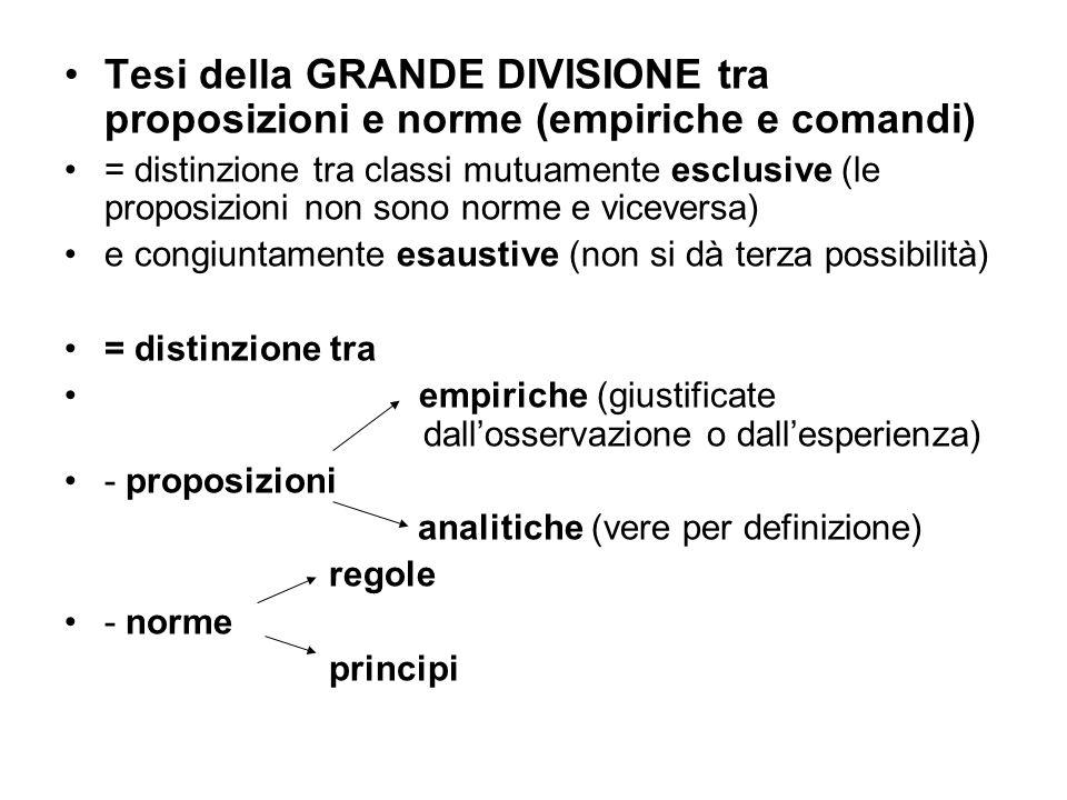 Tesi della GRANDE DIVISIONE tra proposizioni e norme (empiriche e comandi)