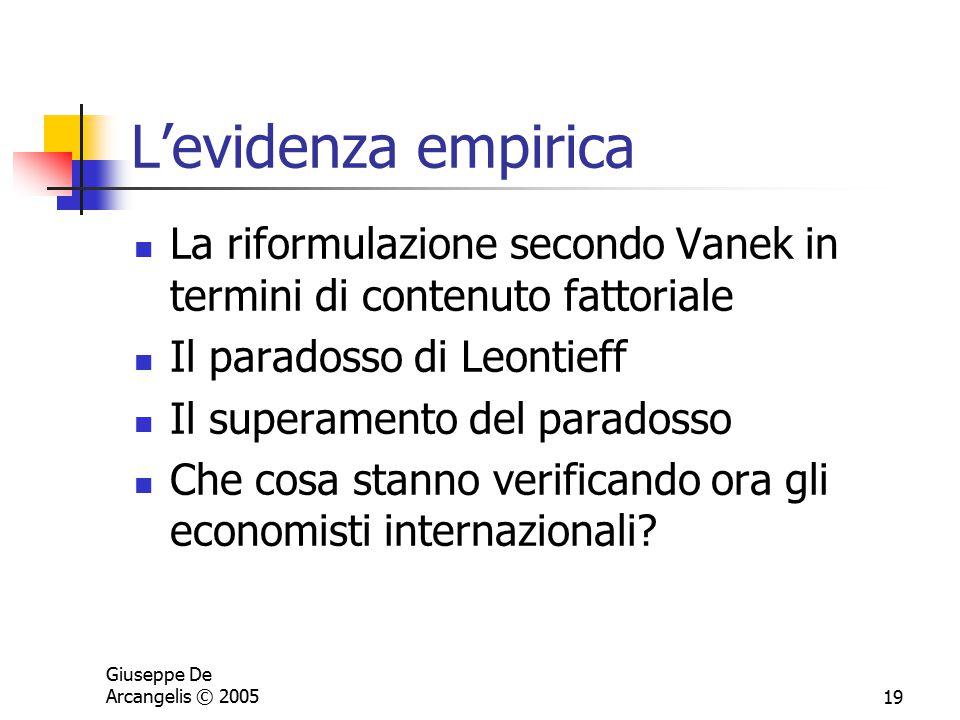 L'evidenza empirica La riformulazione secondo Vanek in termini di contenuto fattoriale. Il paradosso di Leontieff.