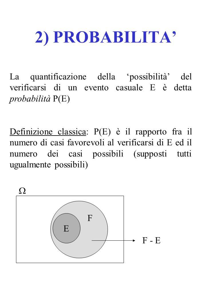 2) PROBABILITA' La quantificazione della 'possibilità' del verificarsi di un evento casuale E è detta probabilità P(E)