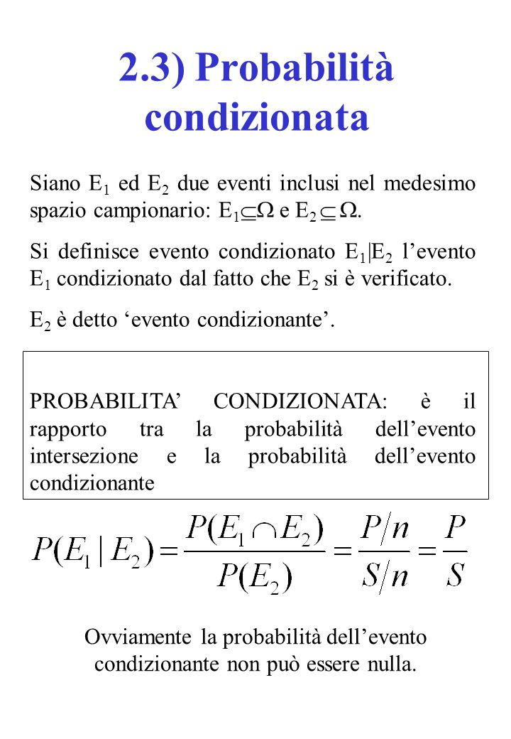 2.3) Probabilità condizionata