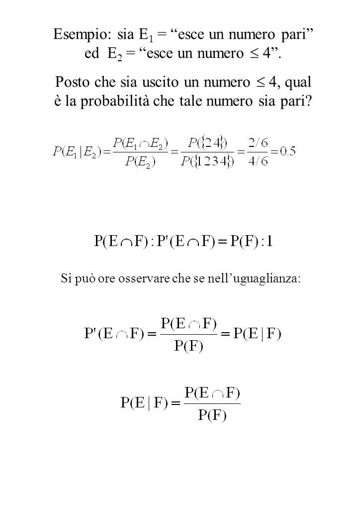 Esempio: sia E1 = esce un numero pari ed E2 = esce un numero  4 .
