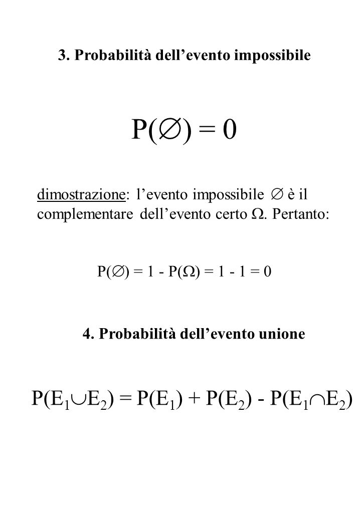 3. Probabilità dell'evento impossibile