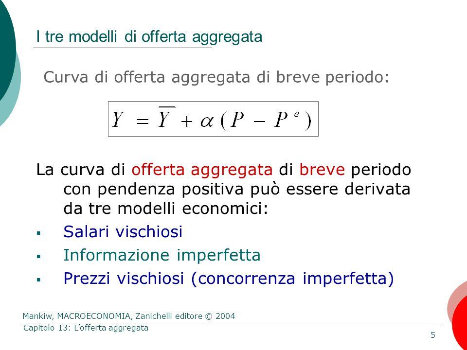 I tre modelli di offerta aggregata