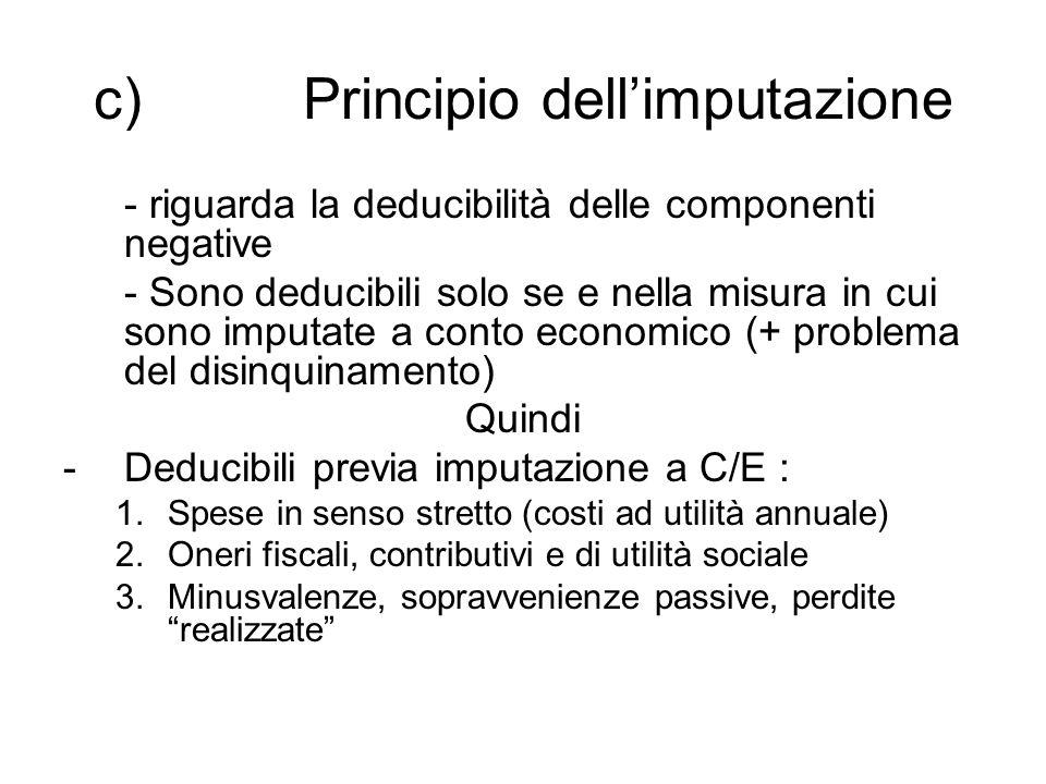 c) Principio dell'imputazione