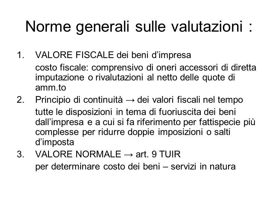 Norme generali sulle valutazioni :