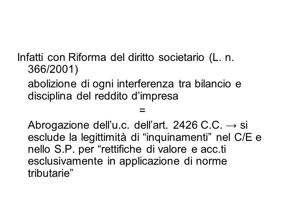 Infatti con Riforma del diritto societario (L. n. 366/2001)