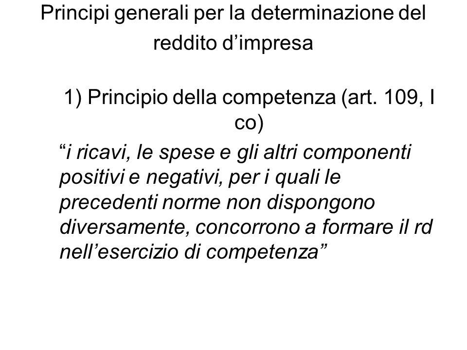 Principi generali per la determinazione del reddito d'impresa