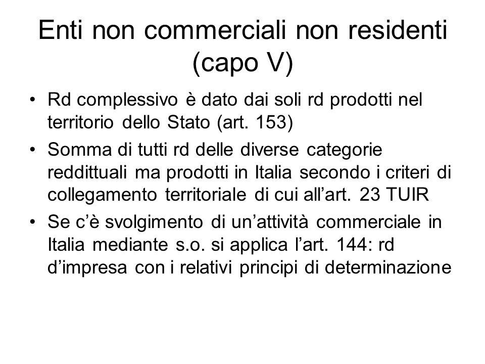 Enti non commerciali non residenti (capo V)