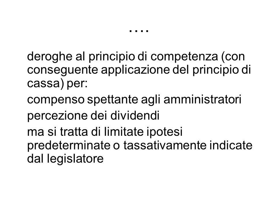 …. deroghe al principio di competenza (con conseguente applicazione del principio di cassa) per: compenso spettante agli amministratori.