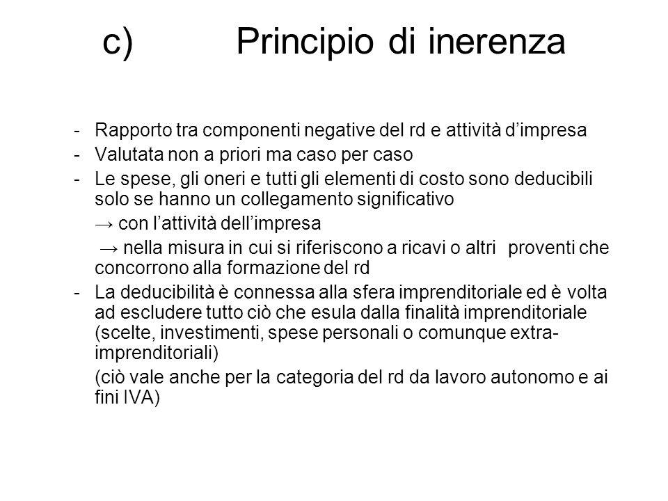 c) Principio di inerenza