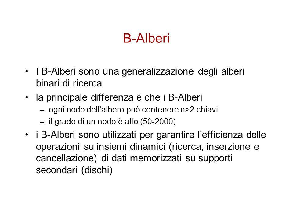 B-Alberi I B-Alberi sono una generalizzazione degli alberi binari di ricerca. la principale differenza è che i B-Alberi.