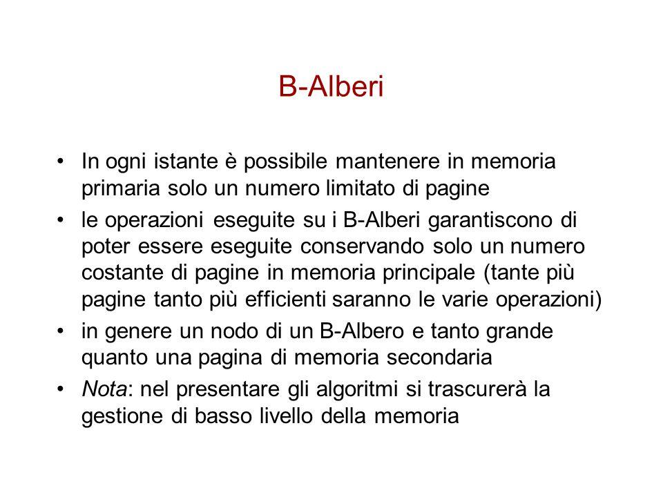 B-Alberi In ogni istante è possibile mantenere in memoria primaria solo un numero limitato di pagine.