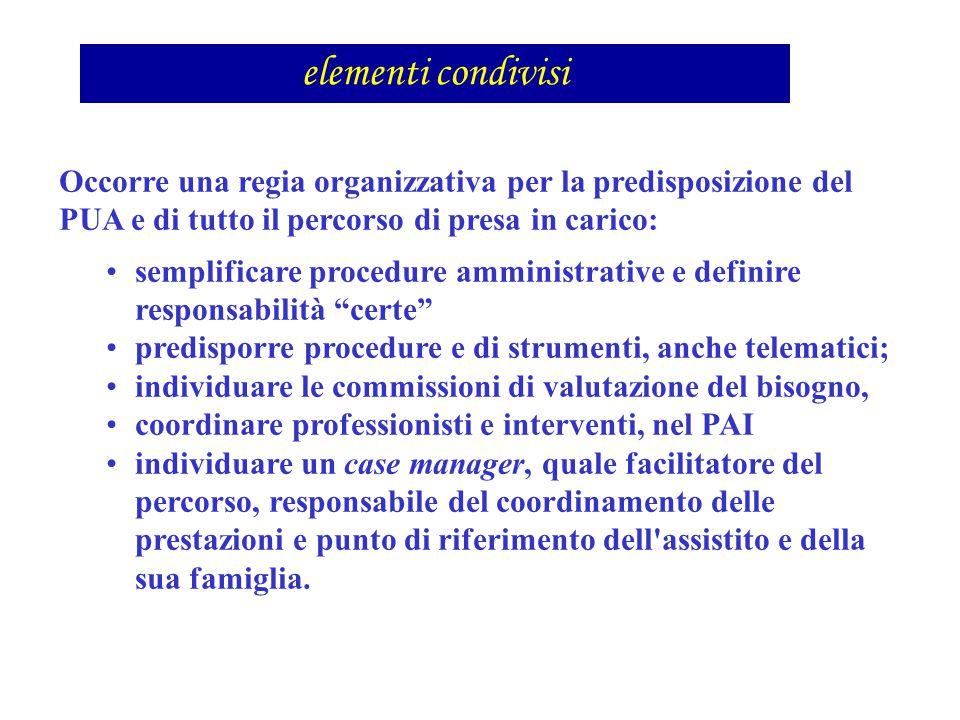 elementi condivisi Occorre una regia organizzativa per la predisposizione del PUA e di tutto il percorso di presa in carico: