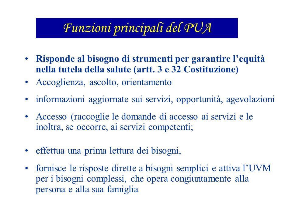 Funzioni principali del PUA
