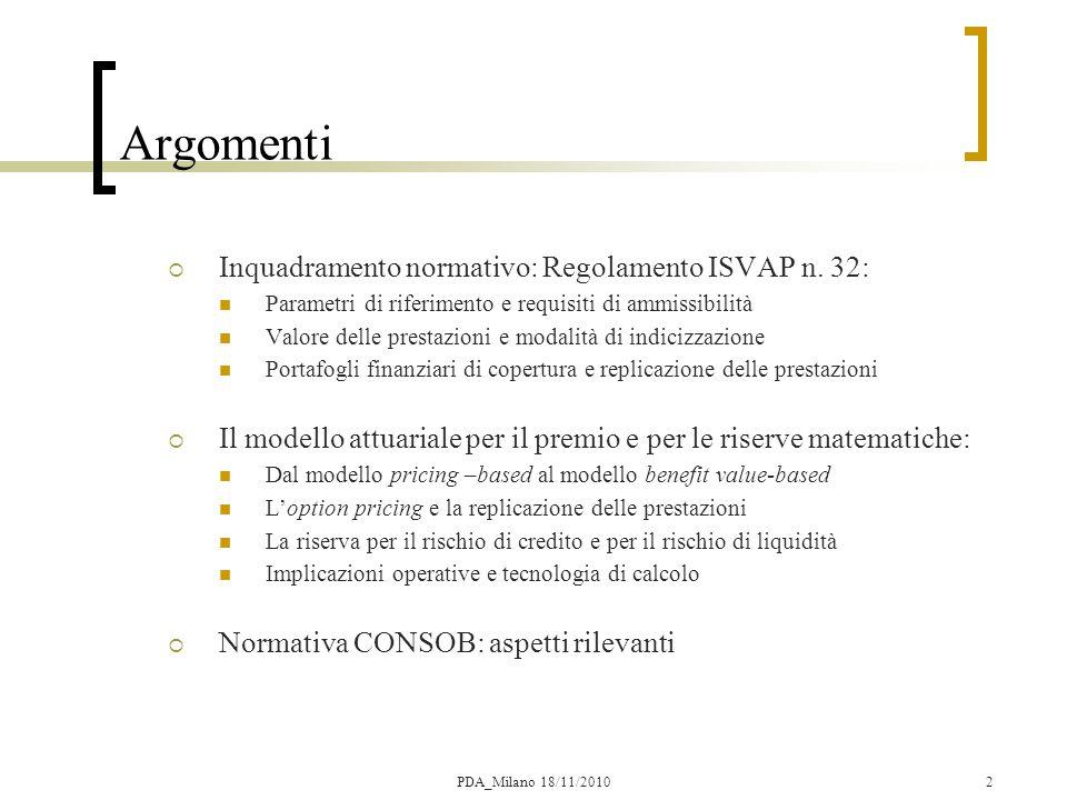 Argomenti Inquadramento normativo: Regolamento ISVAP n. 32: