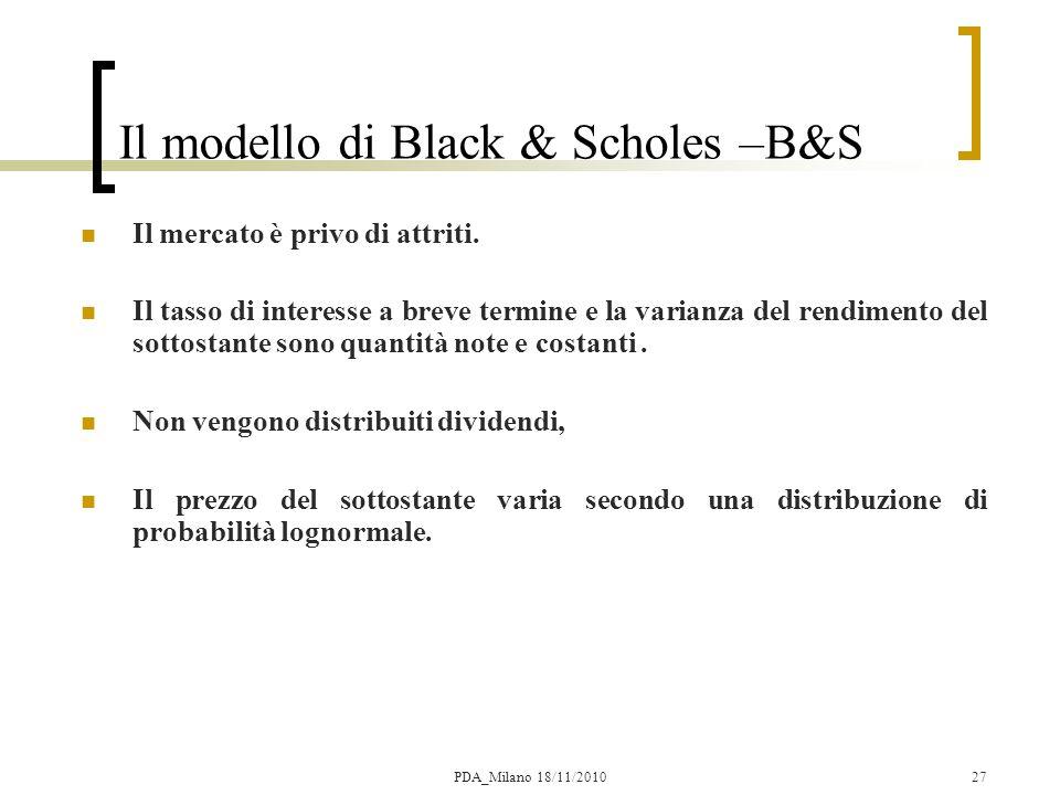 Il modello di Black & Scholes –B&S