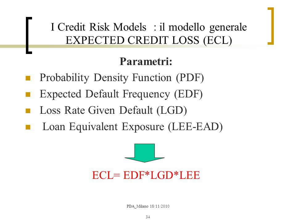 I Credit Risk Models : il modello generale EXPECTED CREDIT LOSS (ECL)