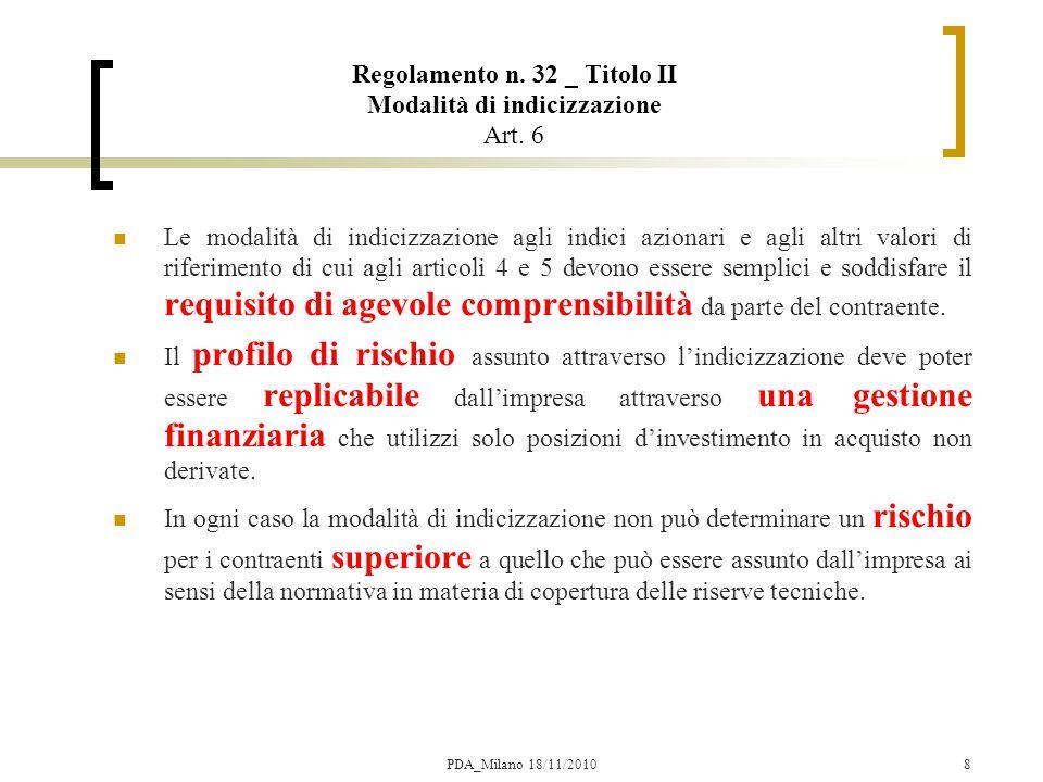 Regolamento n. 32 _ Titolo II Modalità di indicizzazione Art. 6