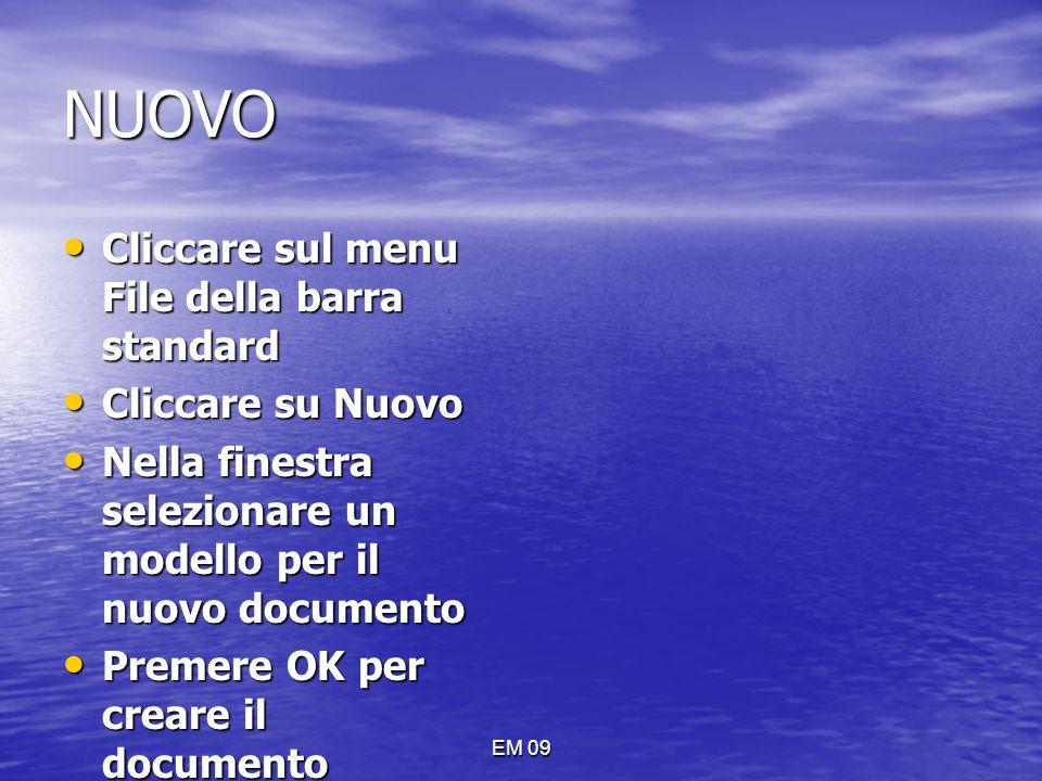 NUOVO Cliccare sul menu File della barra standard Cliccare su Nuovo