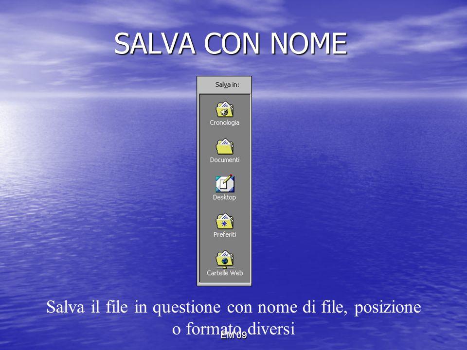 SALVA CON NOME Salva il file in questione con nome di file, posizione o formato diversi EM 09