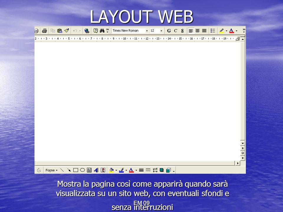 LAYOUT WEB Mostra la pagina così come apparirà quando sarà visualizzata su un sito web, con eventuali sfondi e senza interruzioni.