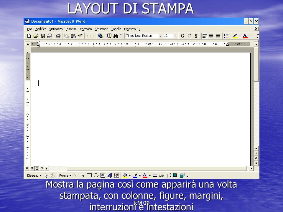 LAYOUT DI STAMPA Mostra la pagina così come apparirà una volta stampata, con colonne, figure, margini, interruzioni e intestazioni.